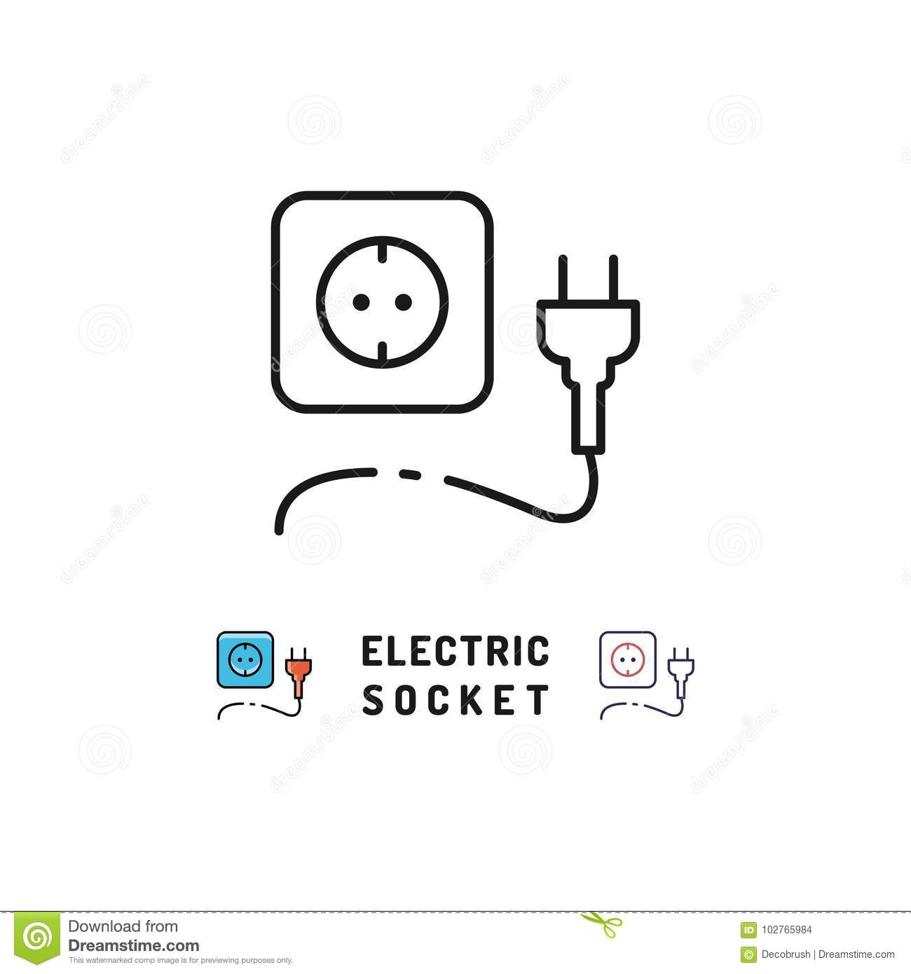 Electric Socket And Plug Icons Electricity Sign Vector