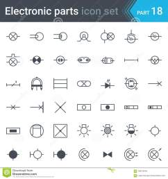 complete vector set of electric and electronic circuit diagram symbols and elements lighting [ 1300 x 1390 Pixel ]