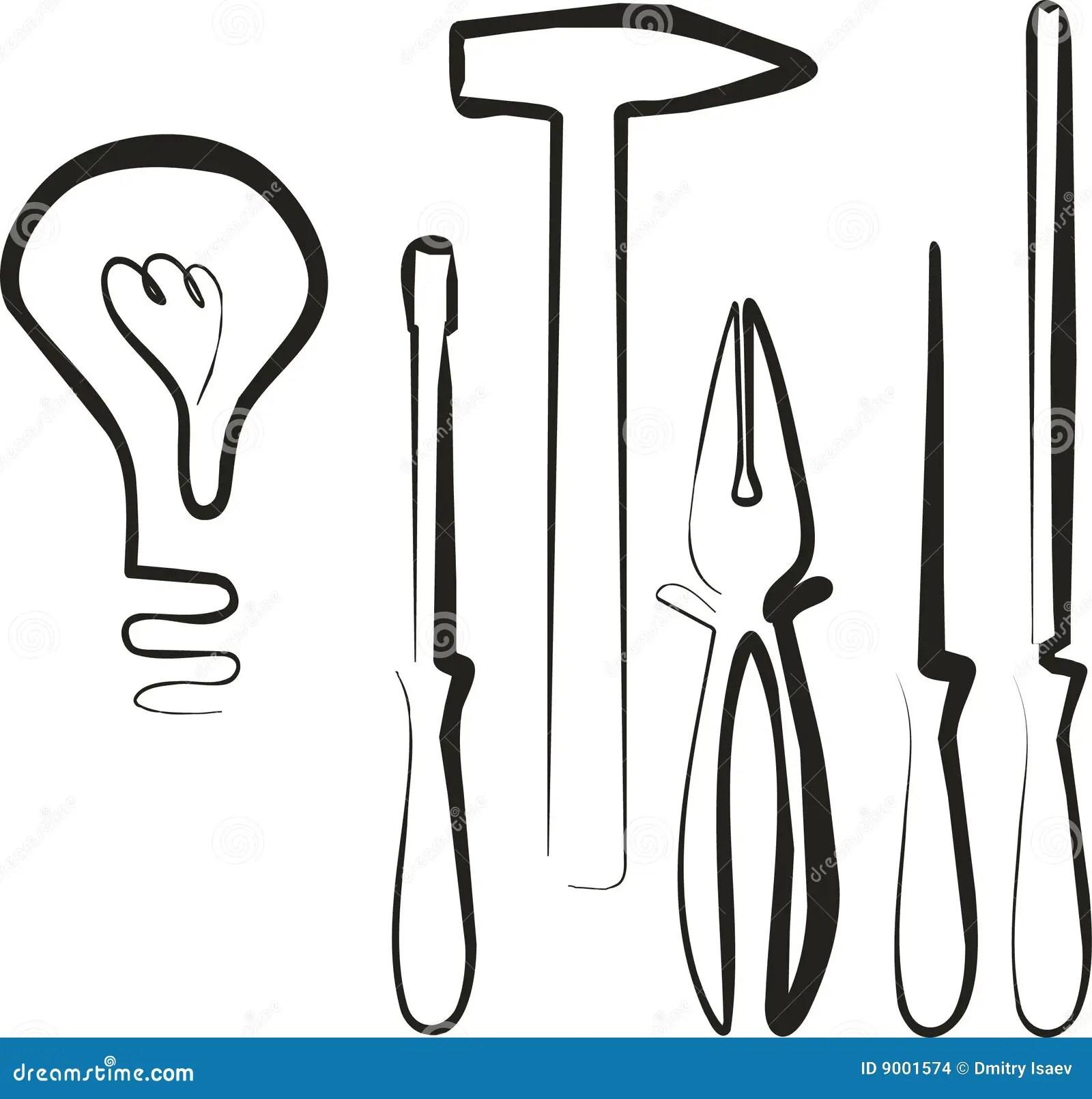 Electric Tool Set Stock Vector Illustration Of Flashlight
