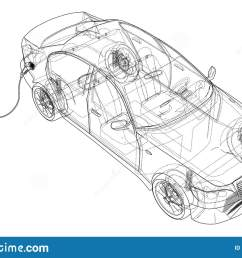 electric vehicle charging station sketch vector rendering of 3d wire frame style the layers of visible and invisible lines are separated [ 1600 x 1095 Pixel ]