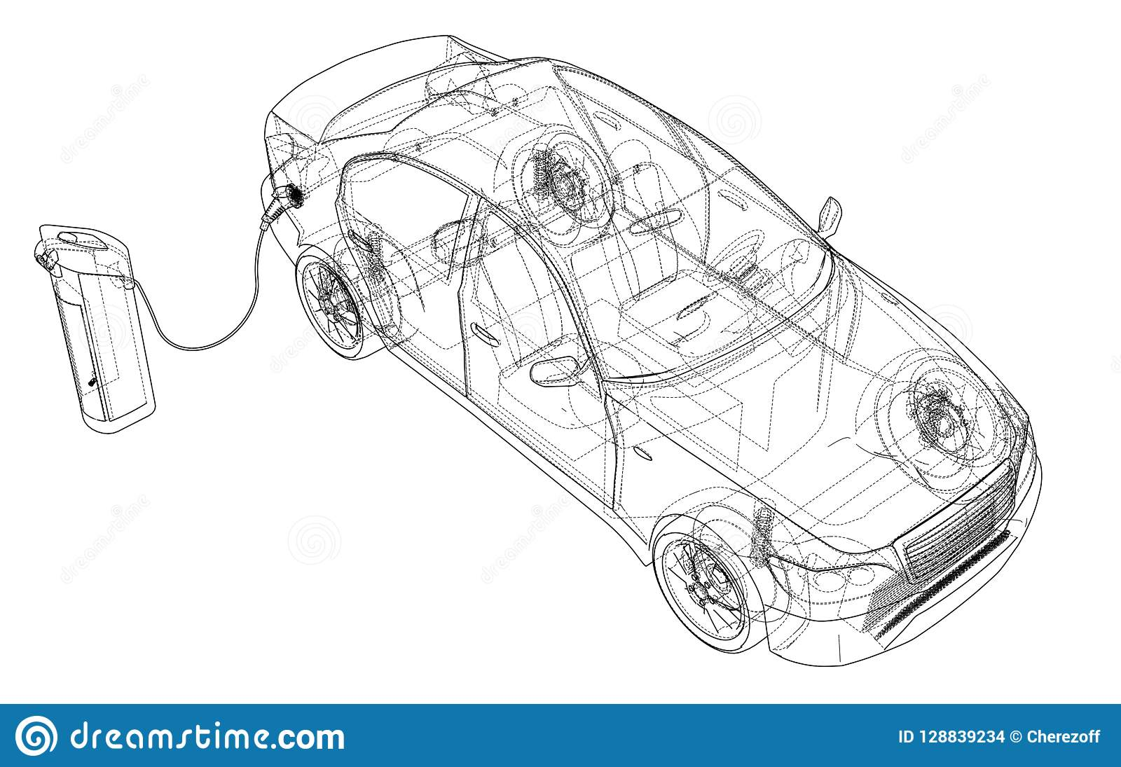hight resolution of electric vehicle charging station sketch vector rendering of 3d wire frame style the layers of visible and invisible lines are separated
