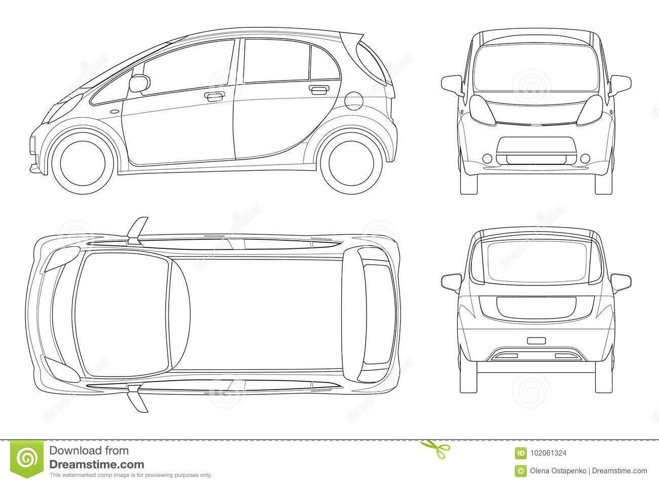 Electric Vehicle Or Hybrid Car In Outline. Eco-friendly Hi