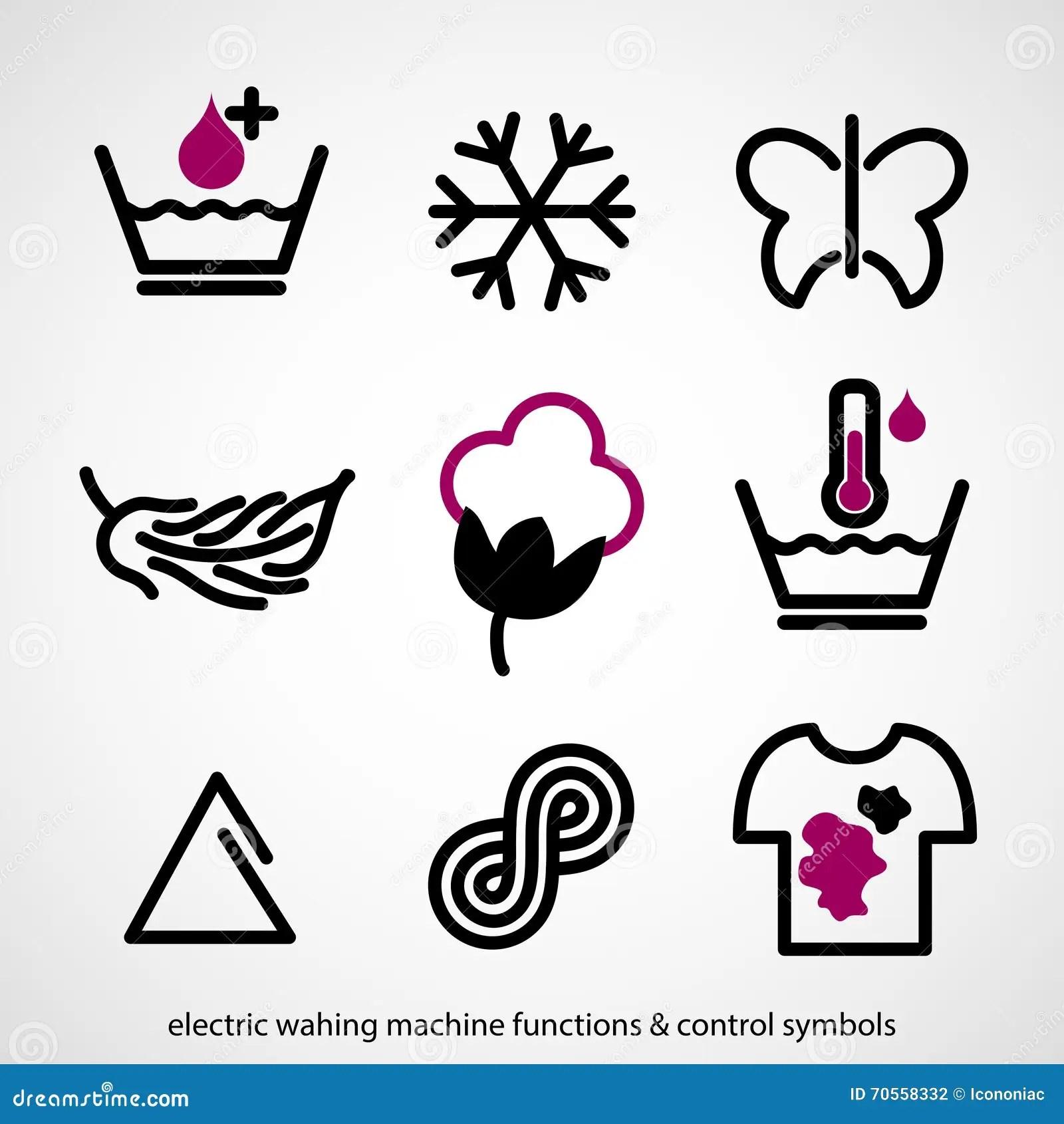Electric Washing Machine Functions & Control Symbols Stock