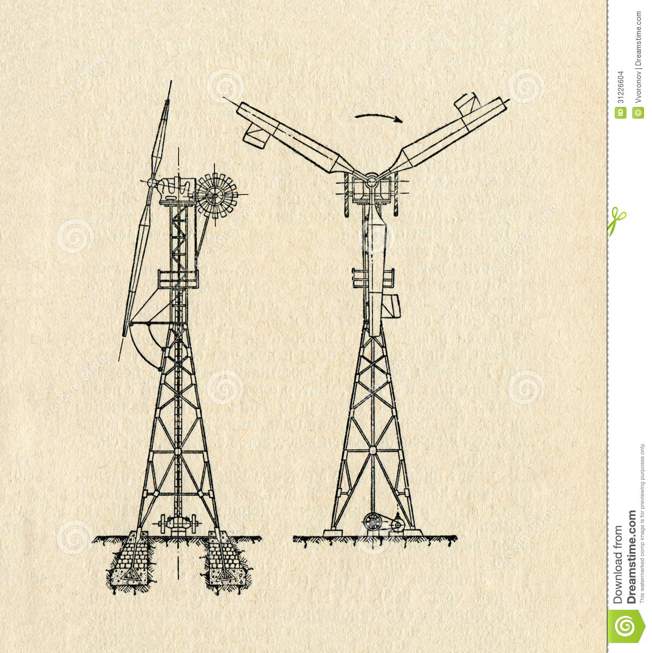 vintage diagram qms process flow electric windmill stock images image 31226604