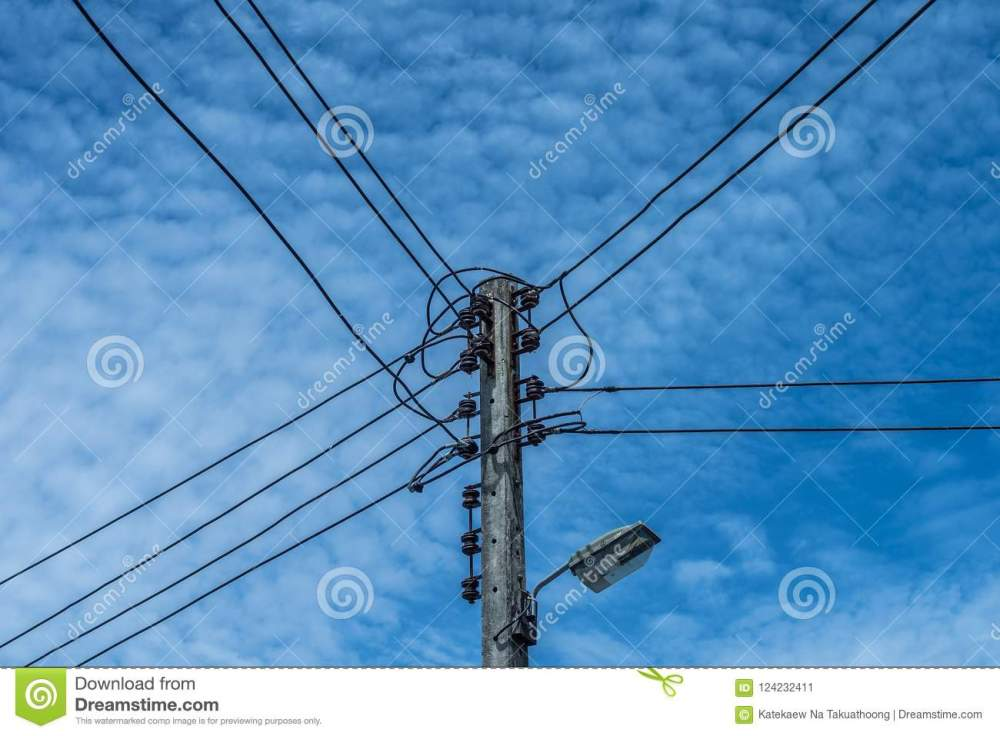 medium resolution of electric wire and lamp on electrical pole