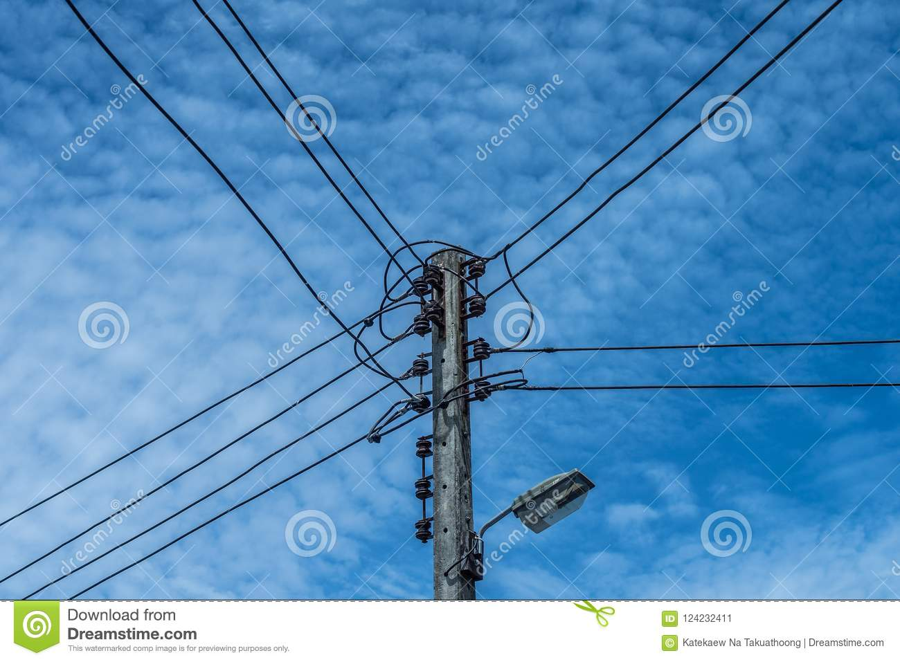 hight resolution of electric wire and lamp on electrical pole