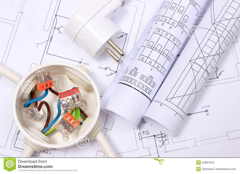 medium resolution of copper wire connections in electrical box electric plug and rolls of electrical diagrams on construction drawing of house energy concept