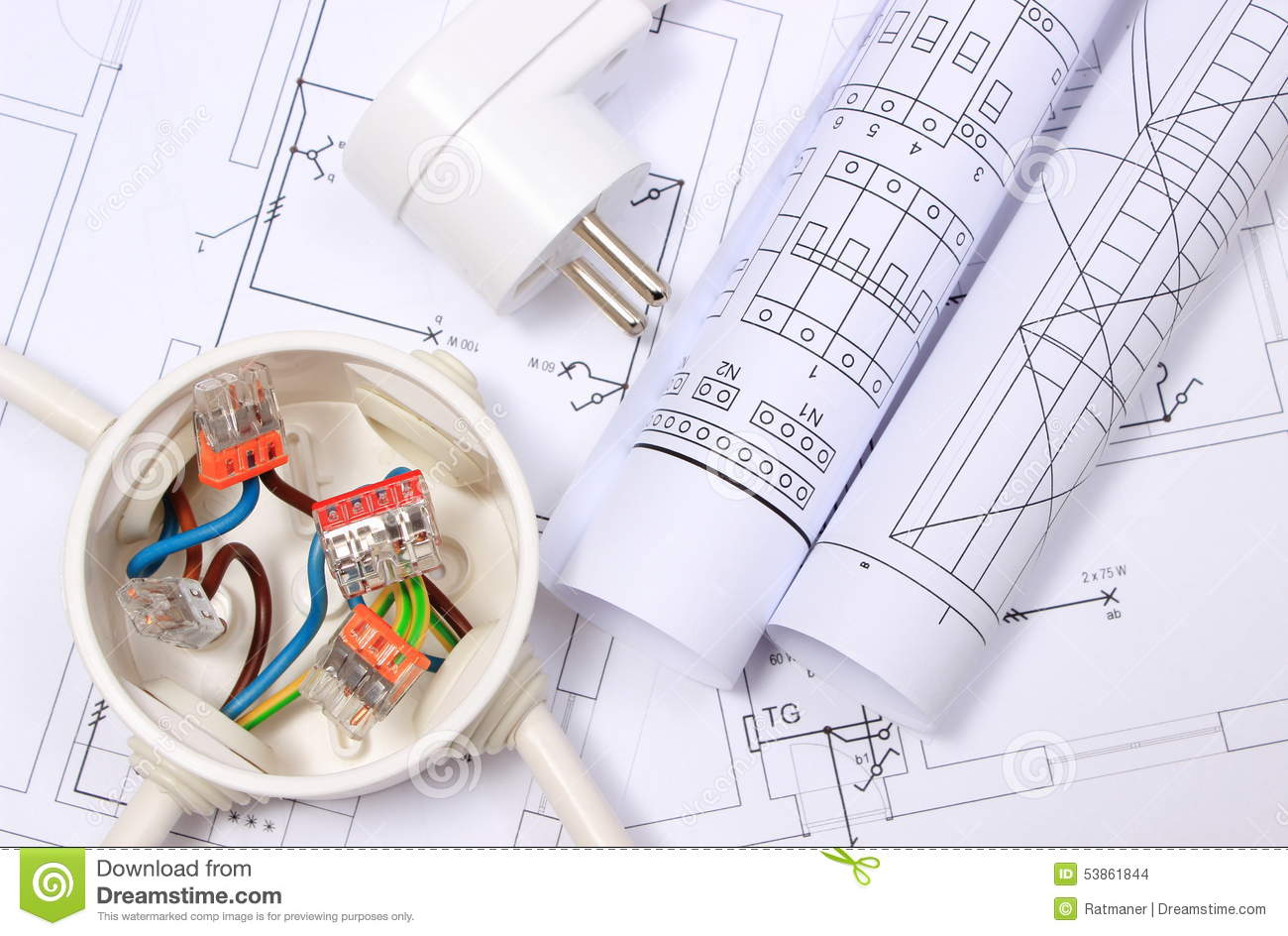 hight resolution of copper wire connections in electrical box electric plug and rolls of electrical diagrams on construction drawing of house energy concept