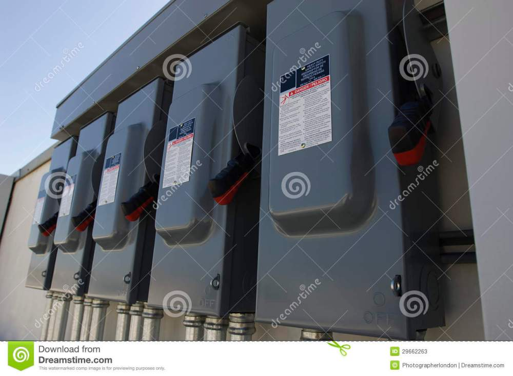medium resolution of electrical breaker boxes at solar power plant