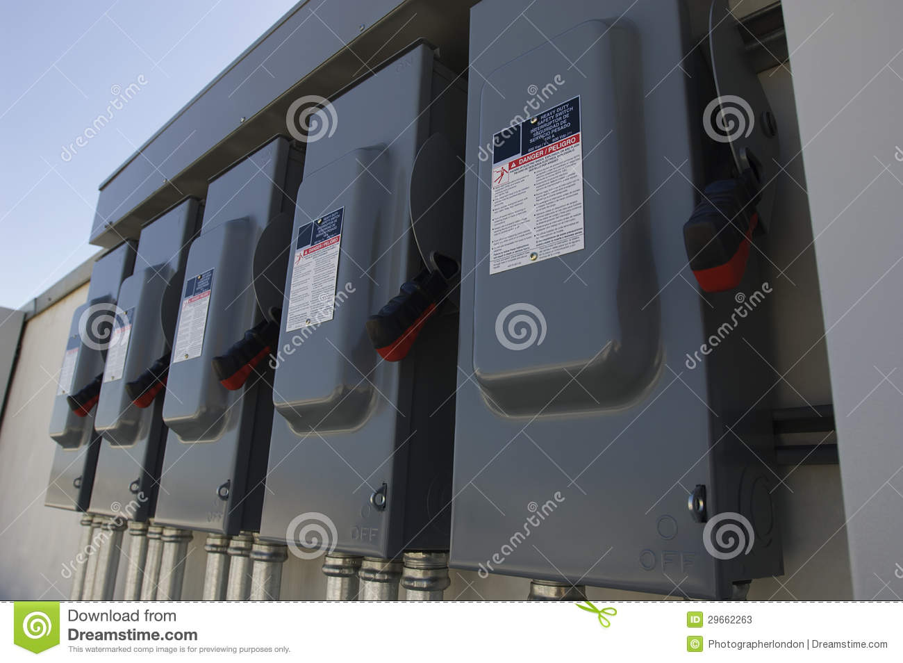 hight resolution of electrical breaker boxes at solar power plant
