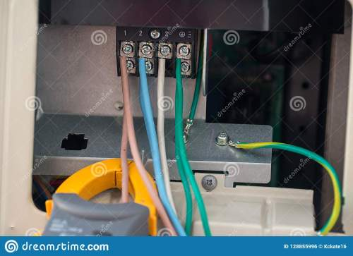 small resolution of electrical cables with terminal block electrical wires is connected to clamps in power system of