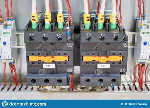 small resolution of electrical cables and wires are connected to two powerful magnetic starter or contactor on the sides of the modular time relay with adjustment