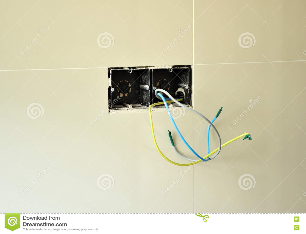 hight resolution of wiring of the new electrical installation in the reform of the kitchen of the house
