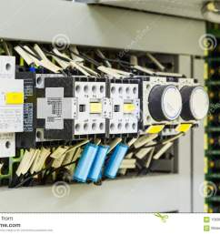 electrical control devices installed in control cubicle including magnetic contactors circuit breakers timer relays and etc  [ 1300 x 957 Pixel ]