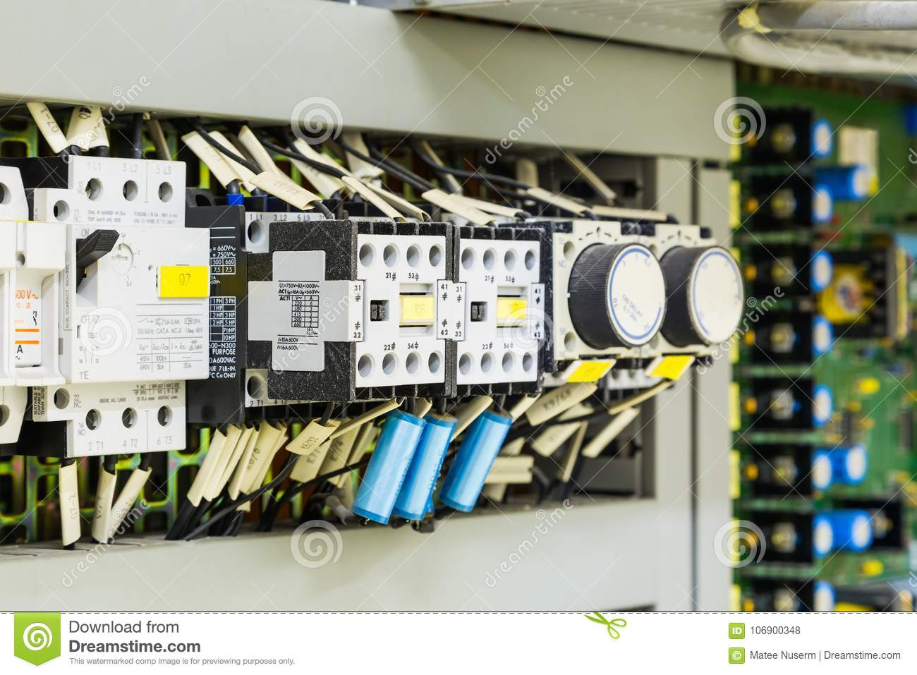 hight resolution of electrical control devices installed in control cubicle including magnetic contactors circuit breakers timer relays and etc