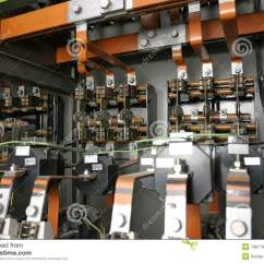 Network Wiring Ceiling Light Diagram Uk Electrical Control System In Factory Stock Image - Image: 7987795