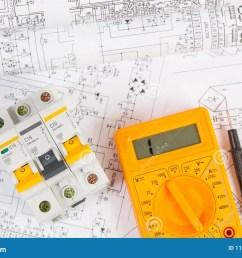 electrical engineering drawings modular circuit breaker and digital multimeter  [ 1300 x 957 Pixel ]