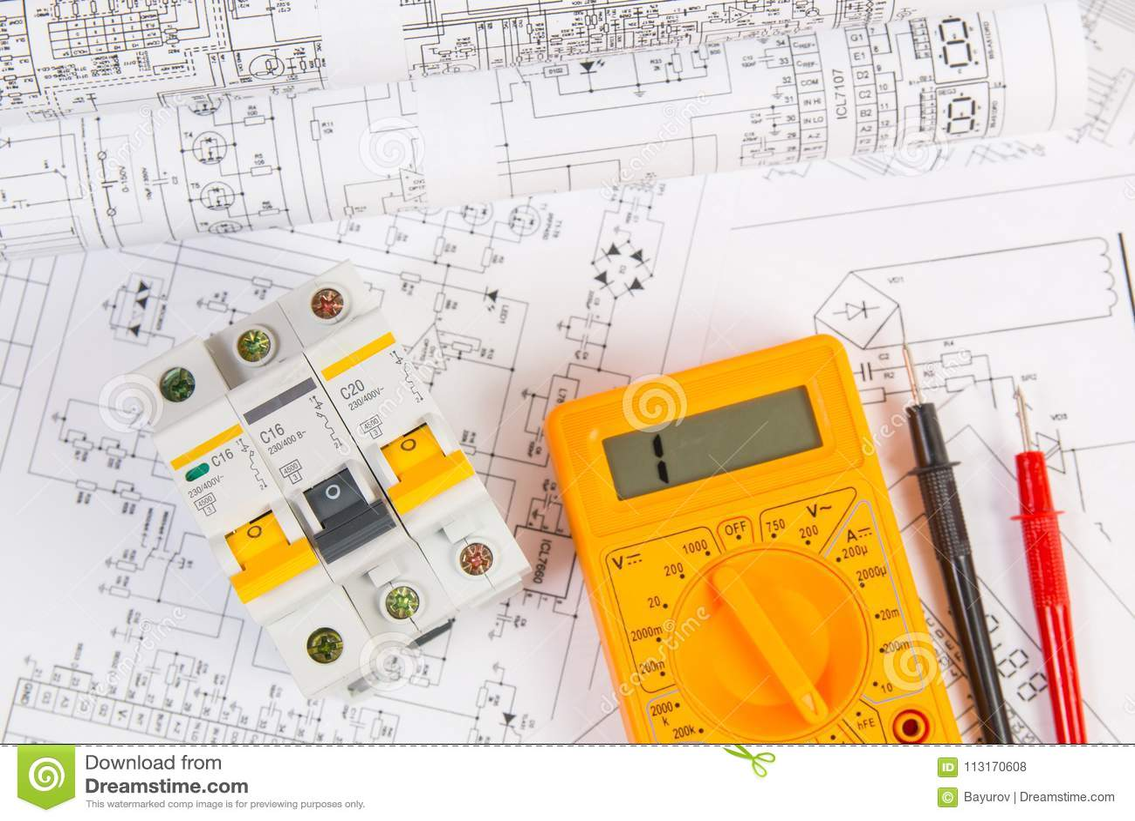 hight resolution of electrical engineering drawings modular circuit breaker and digital multimeter