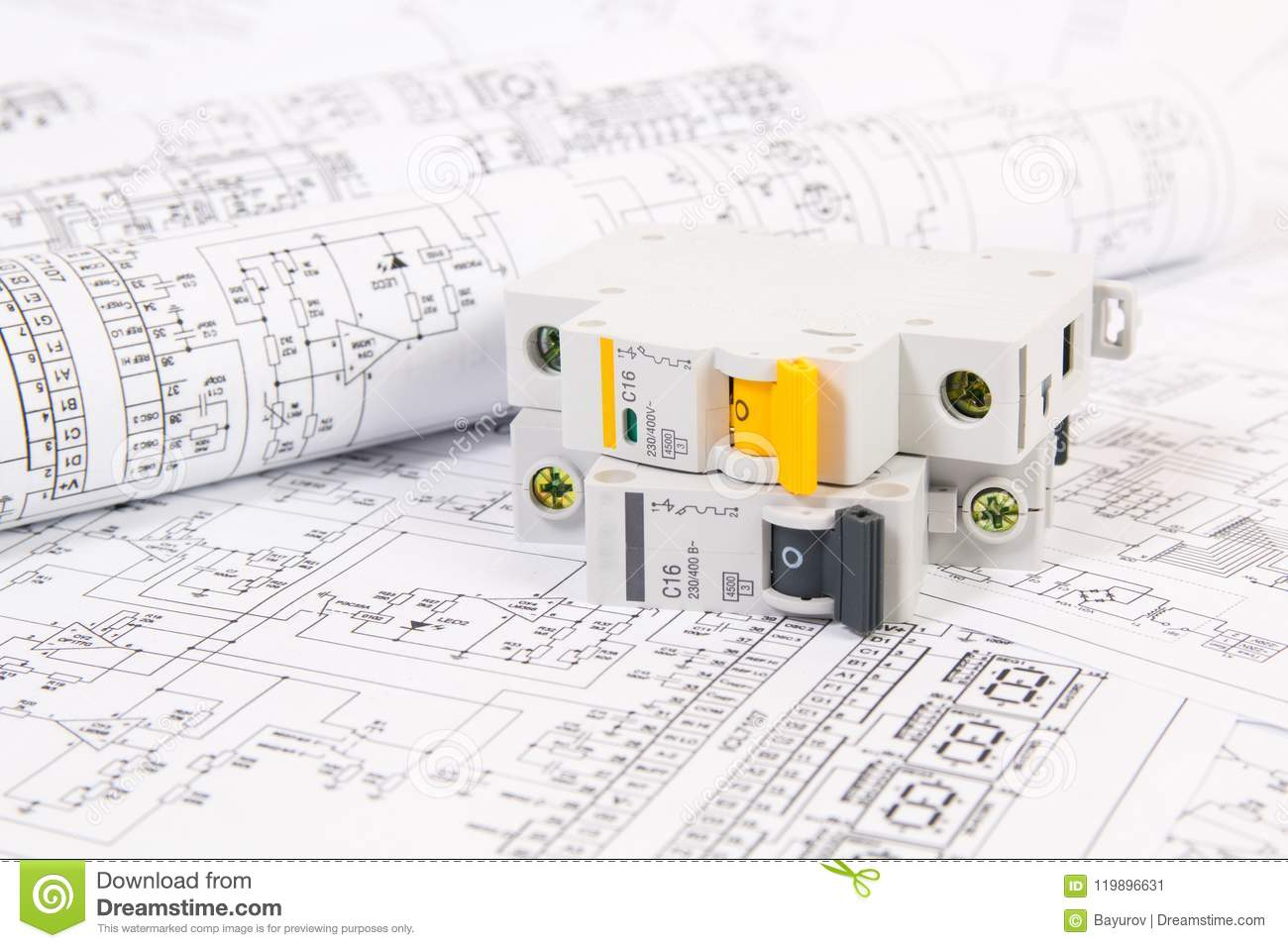 hight resolution of electrical engineering drawings and modular circuit breaker