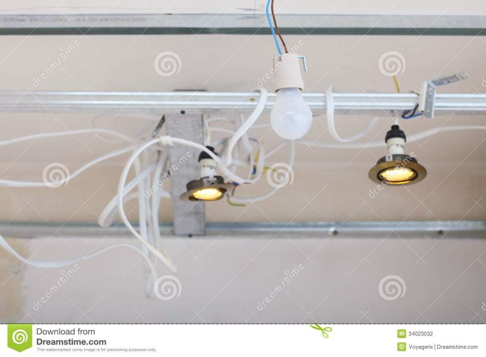 medium resolution of improvement renovation at home electrical installation electric wires hanging on ceiling installing energy light in building site