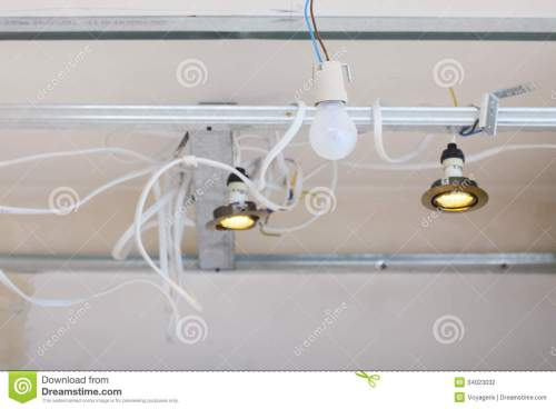 small resolution of improvement renovation at home electrical installation electric wires hanging on ceiling installing energy light in building site