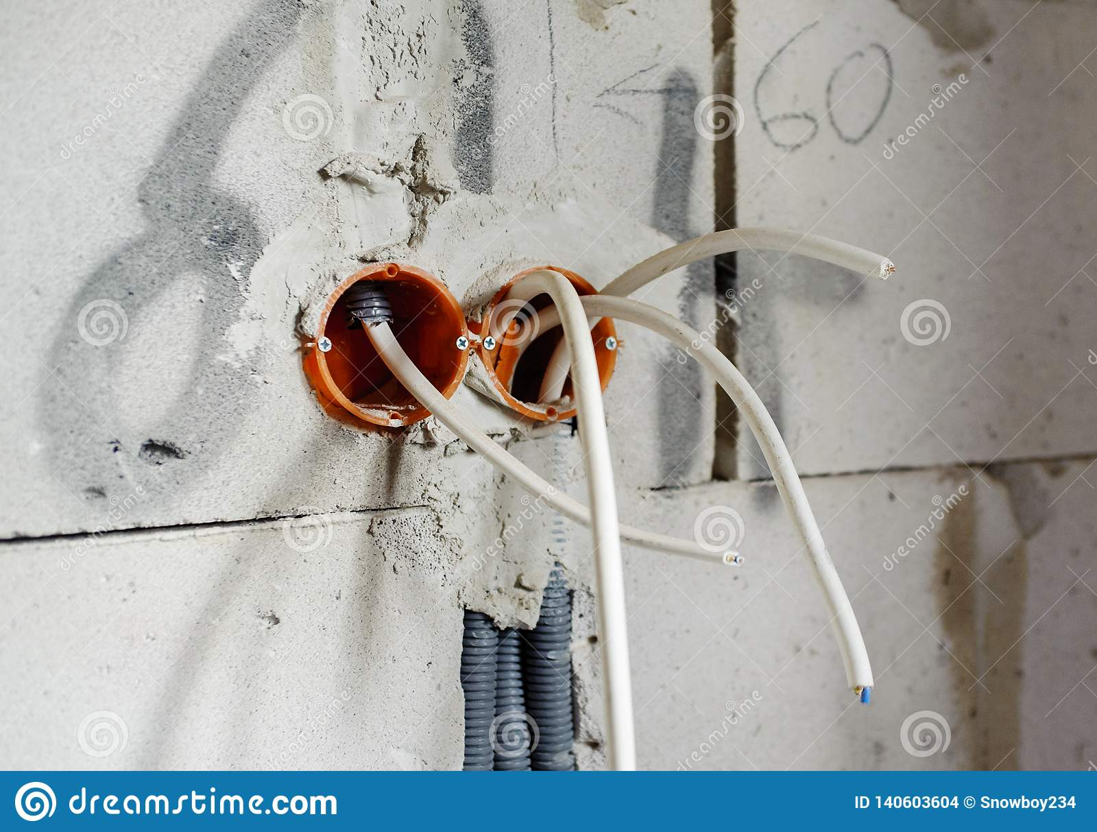 hight resolution of electric box with wires house in construction