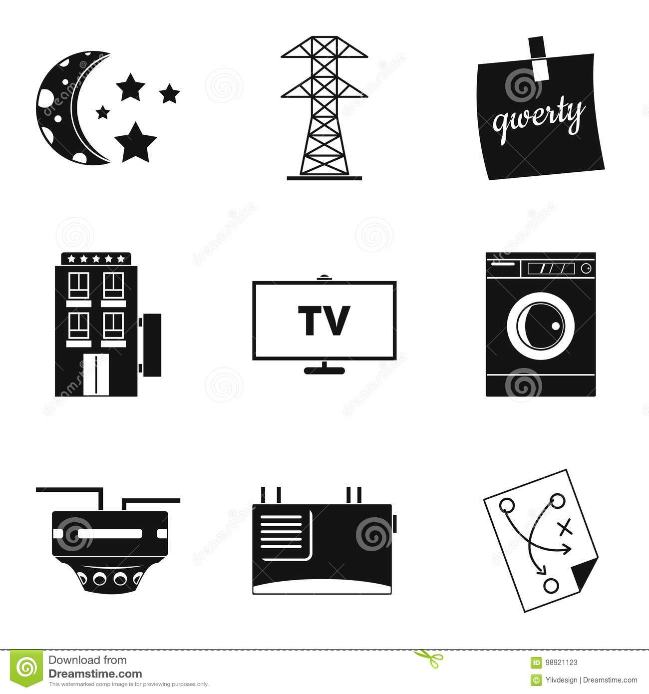 Electrical Network Icons Set, Simple Style Stock Vector