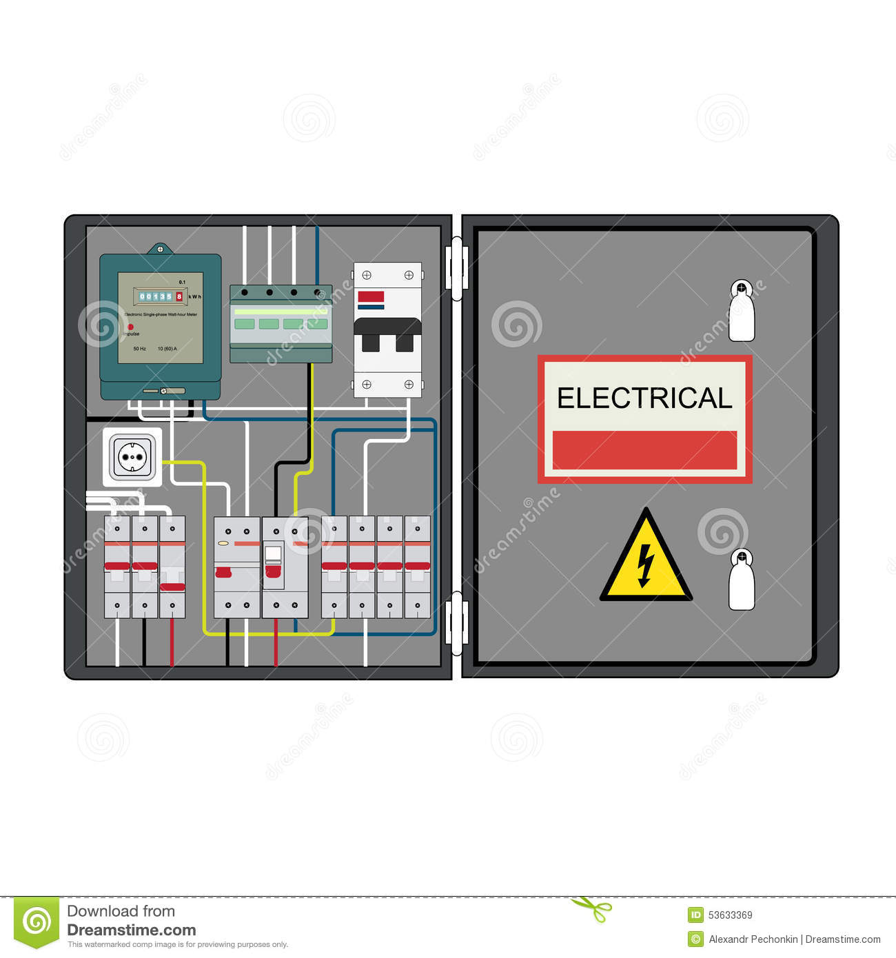hight resolution of picture of the electrical panel electric meter and circuit breakers