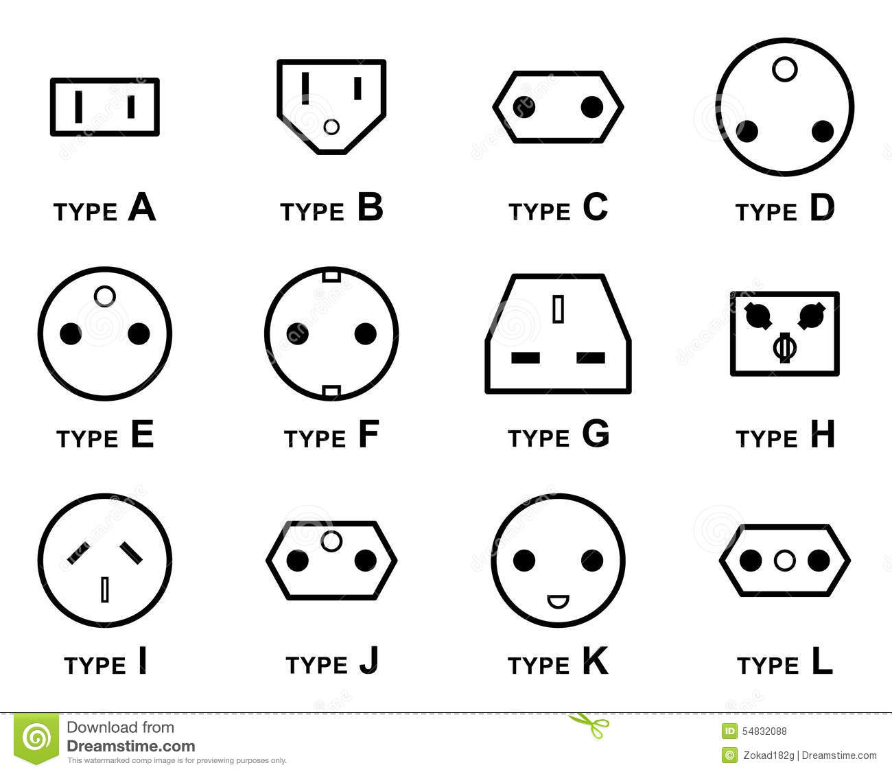 Electrical Plug Types Stock Vector Illustration Of