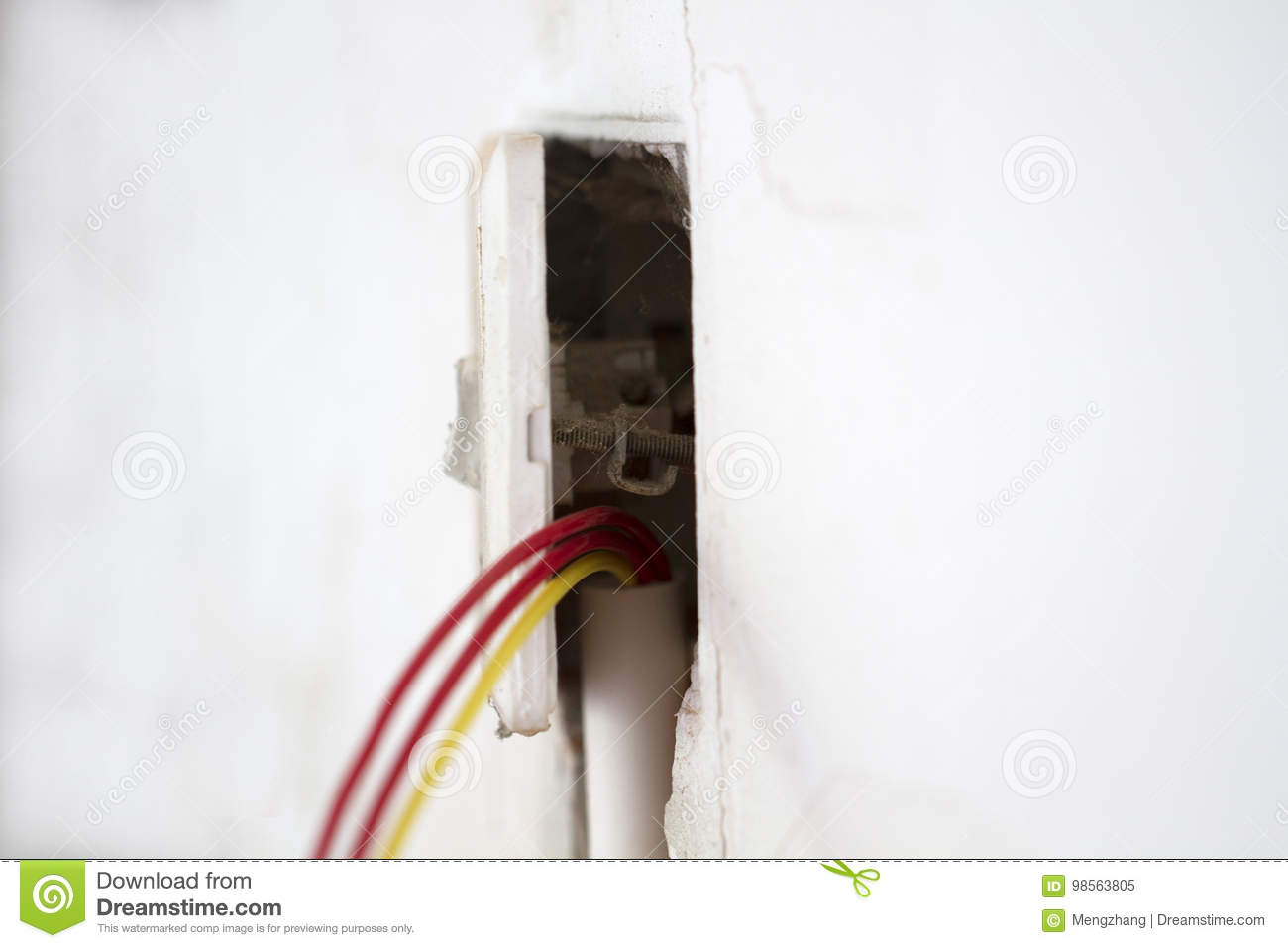 hight resolution of electrical renovation work cable electric electrical box with wiring during residential renovation a light switch hanging off the wall
