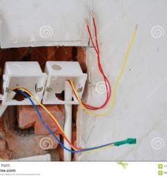 electrical renovation work cable electric electrical box with wiring during residential renovation  [ 1300 x 957 Pixel ]