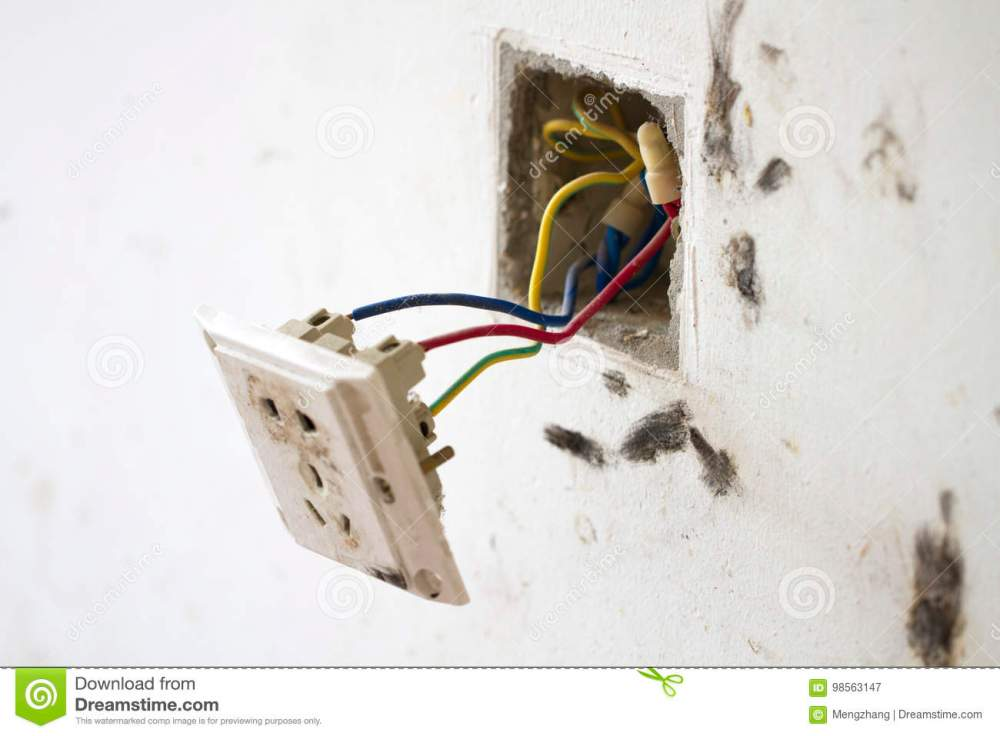 medium resolution of electrical renovation work cable electric electrical box with wiring during residential renovation a plug hanging off the wall