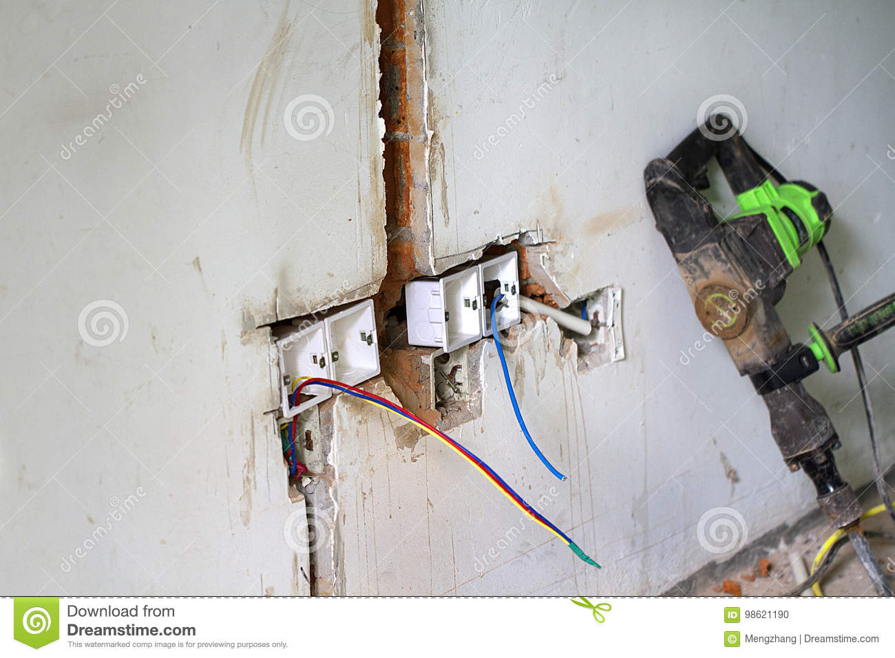 hight resolution of electrical renovation work cable electric electrical box with wiring during residential renovation