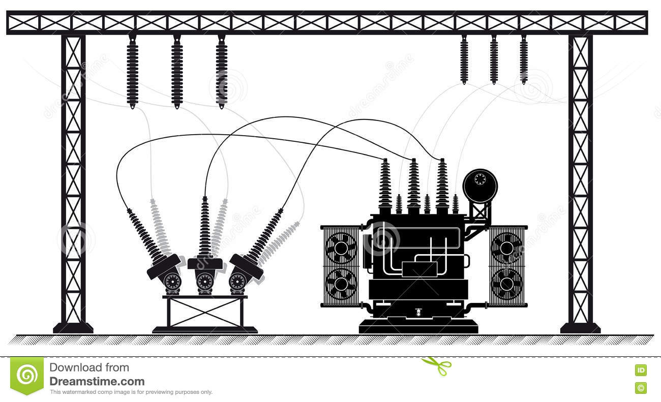 Electrical Substation. The High-voltage Transformer And