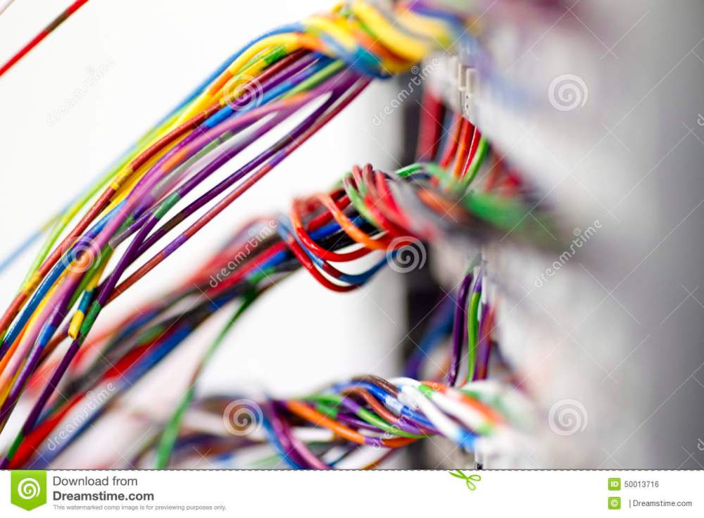 medium resolution of bundles of brightly coloured low voltage networking wire