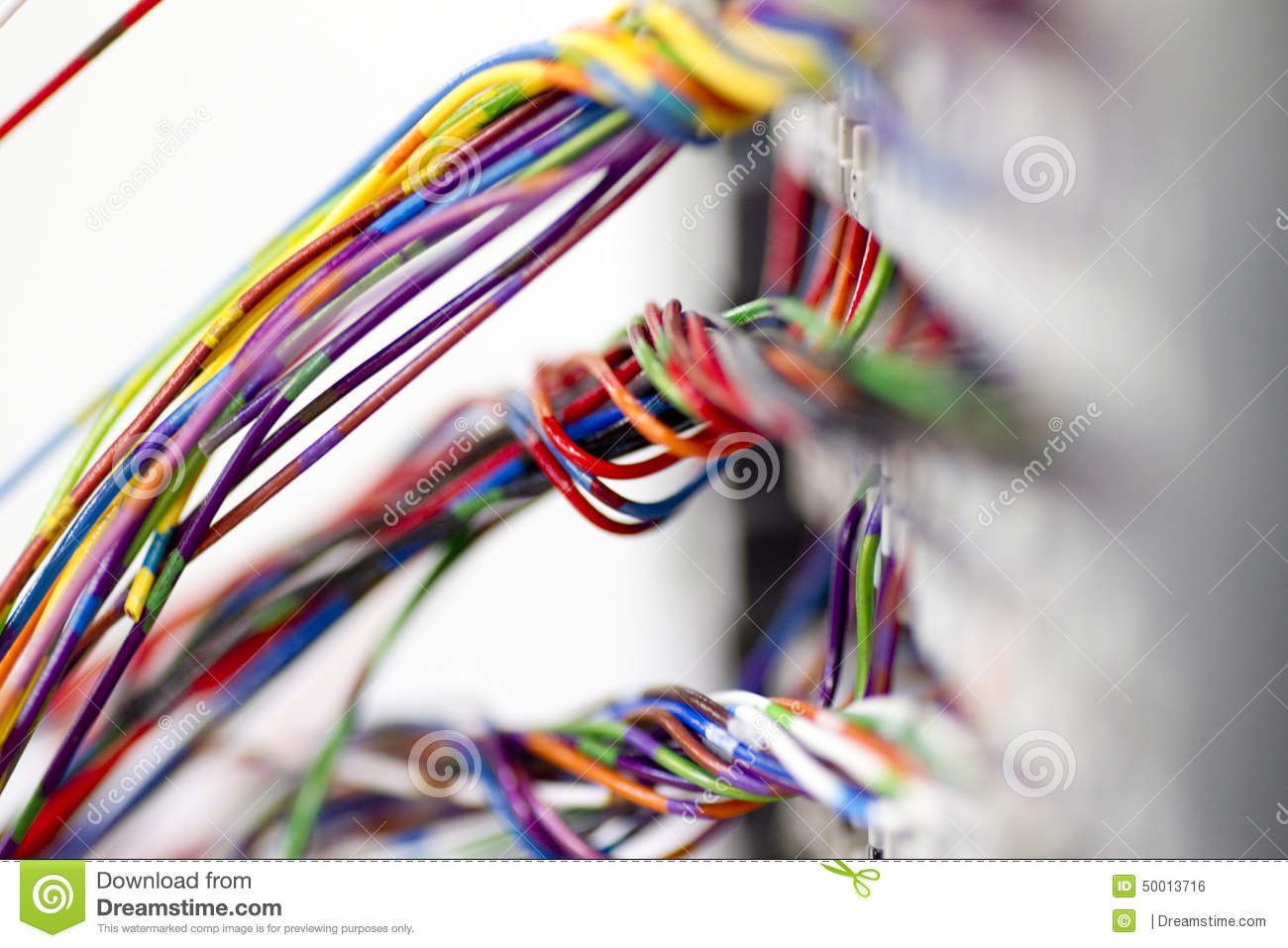 hight resolution of bundles of brightly coloured low voltage networking wire