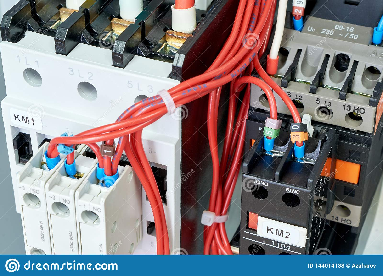 hight resolution of electrical wires or cables are connected to magnetic starters or contactors
