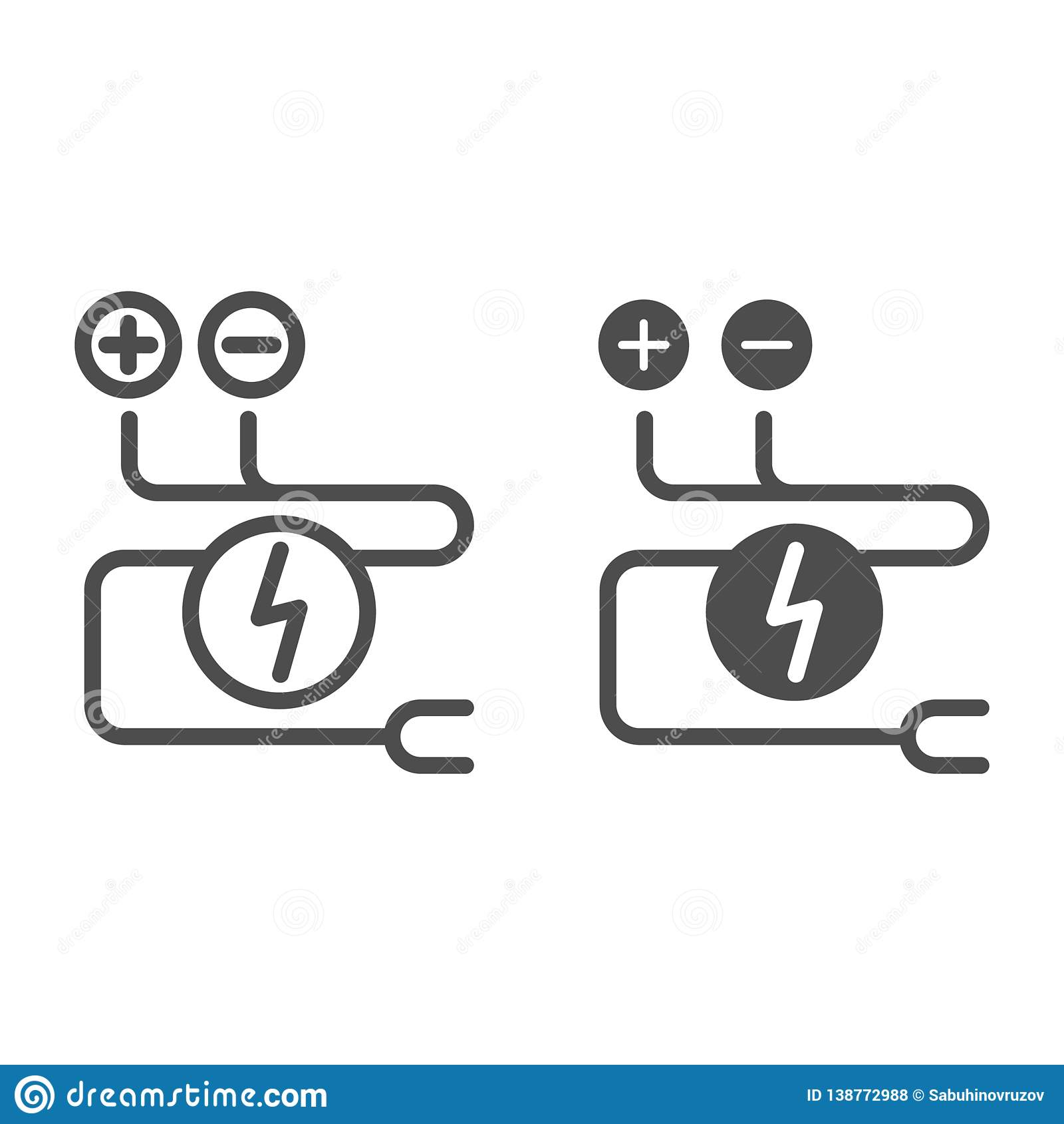 hight resolution of electrical wiring line and glyph icon cable vector illustration isolated on white electrical cord