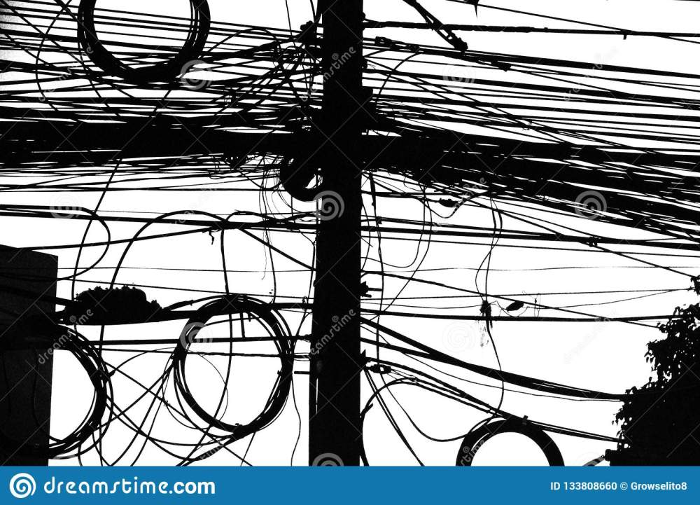 medium resolution of electrical wiring in thailand mess of cables in black and white