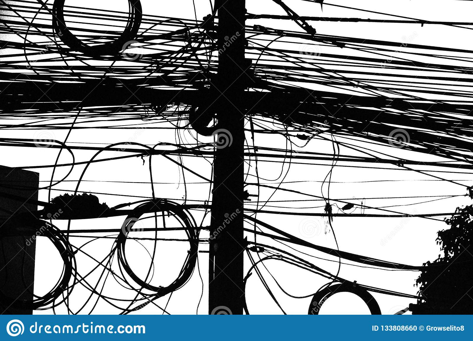 hight resolution of electrical wiring in thailand mess of cables in black and white