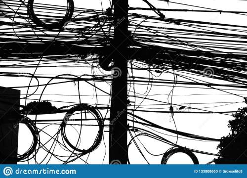 small resolution of electrical wiring in thailand mess of cables in black and white