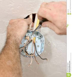 a closeup of an electrician s hands attaching wires to a ceiling fan box work is being performed according to nec code and osha safety standards by a  [ 1184 x 1300 Pixel ]