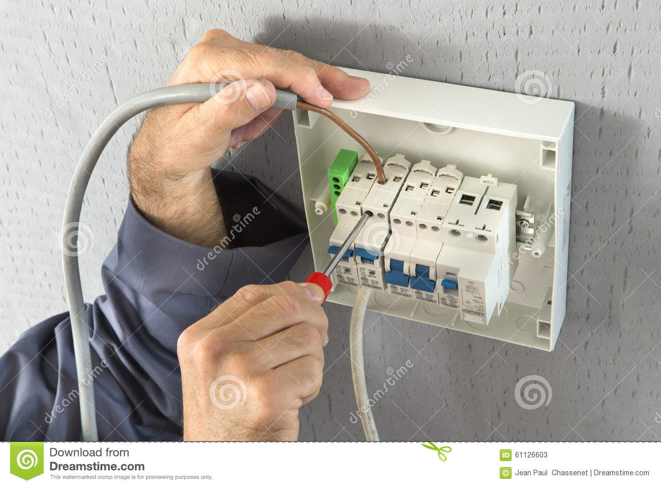hight resolution of electrician builder engineer screwing equipment in fuse box