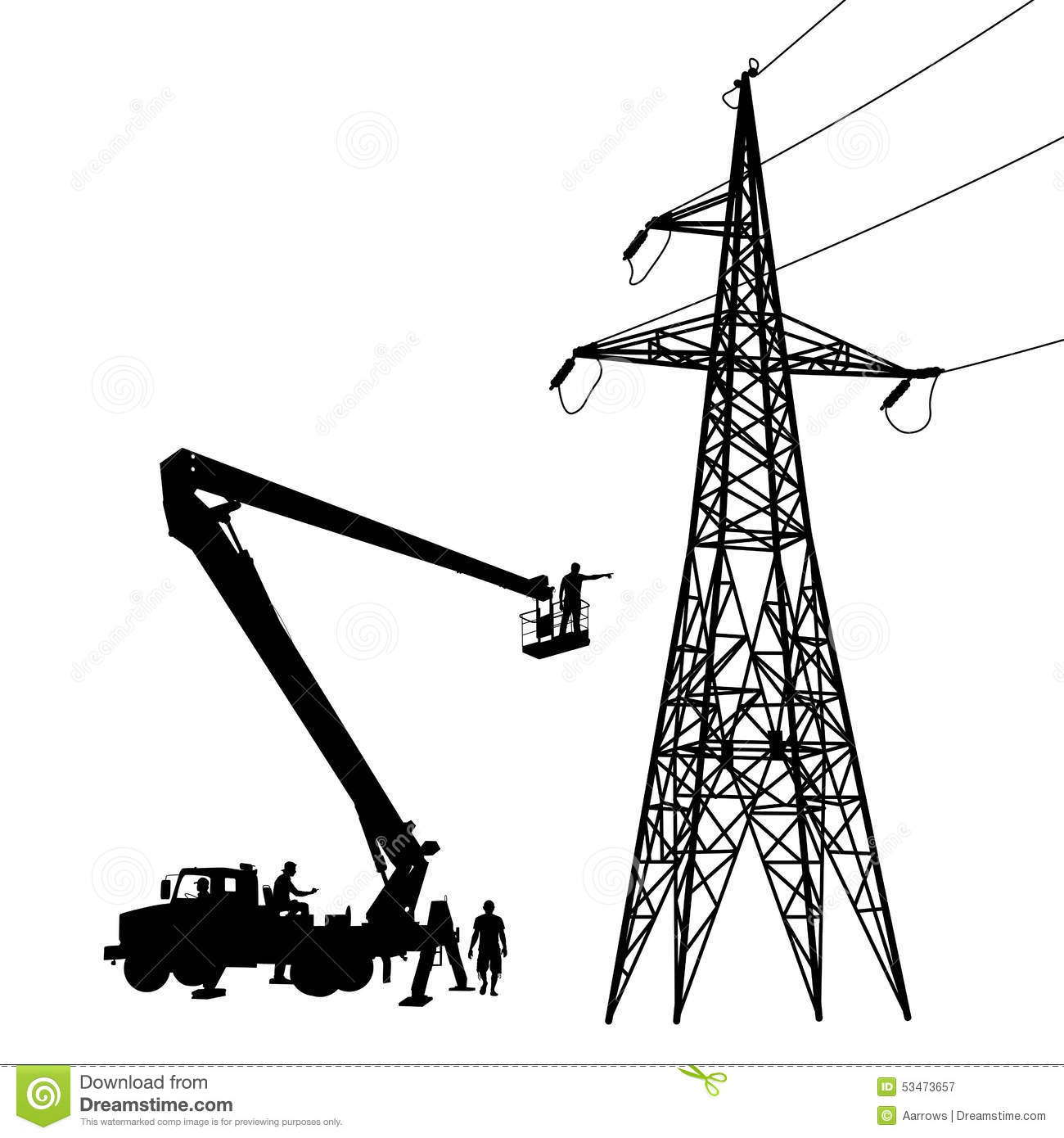 Electrician Making Repairs At A Power Pole Stock Vector