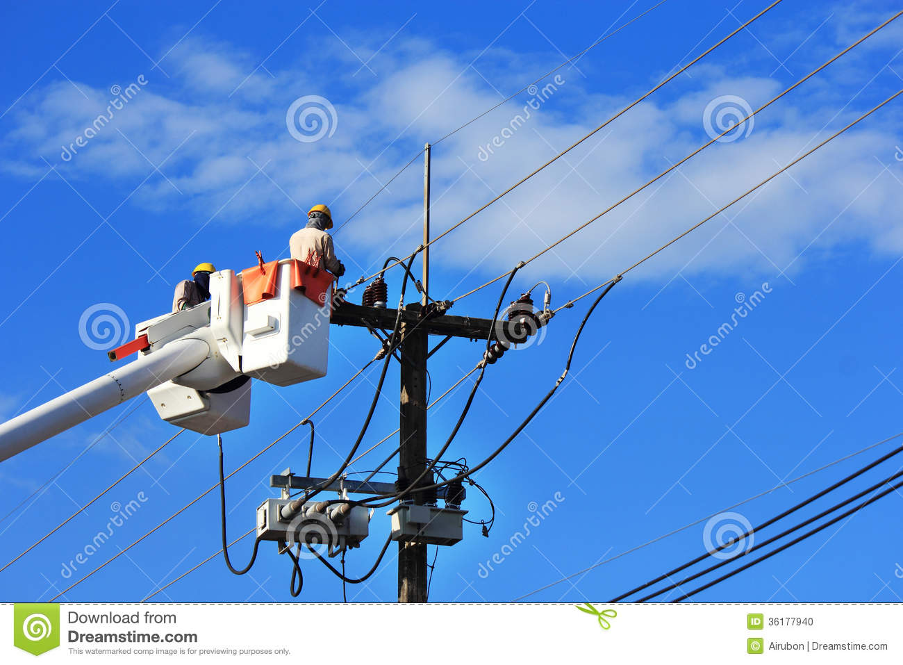 Electrician Repair Of Electric Power System Stock Photo  Image 36177940
