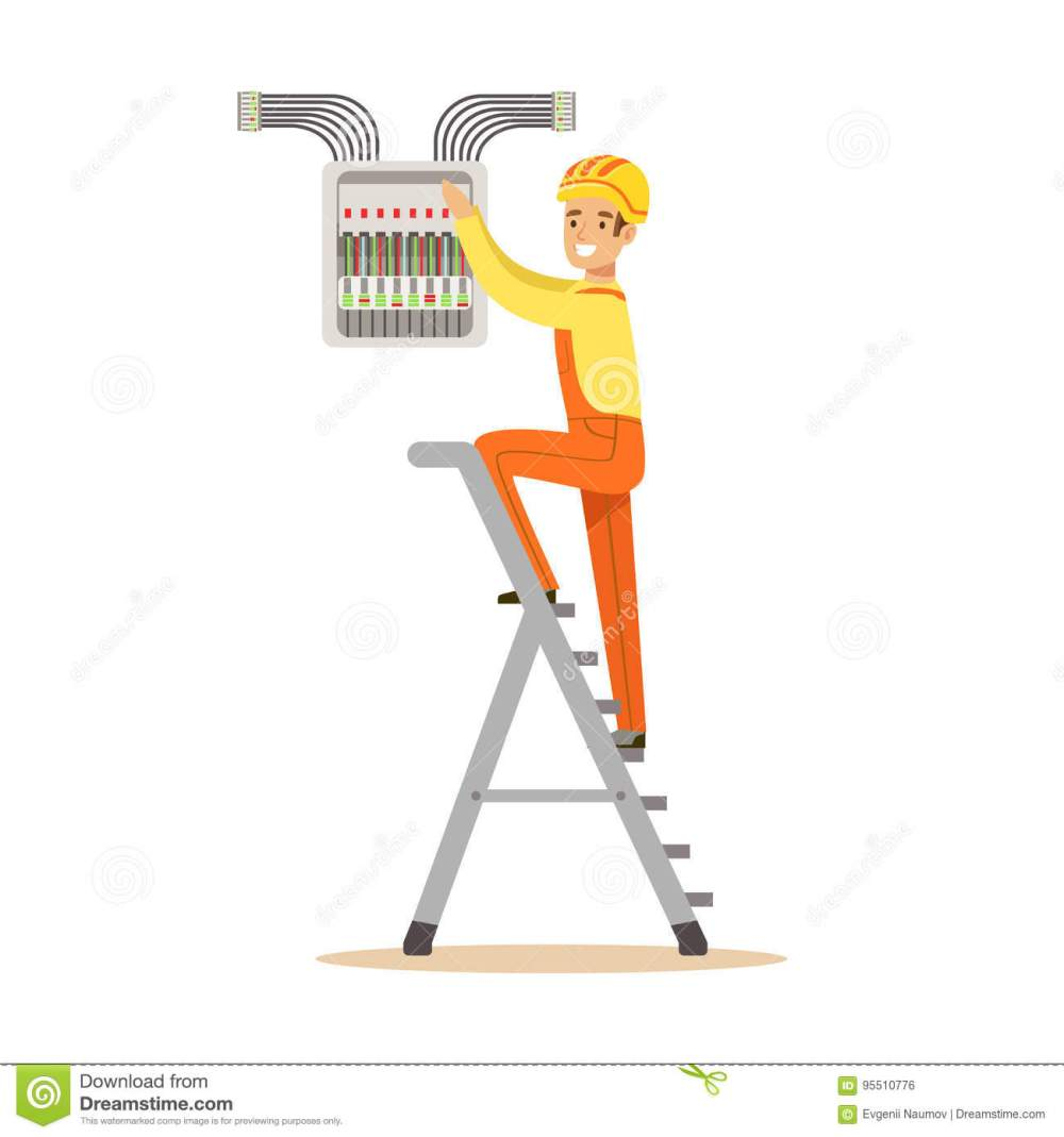 medium resolution of electrician standing on a stepladder and screwing equipment in fuse box electric man performing electrical