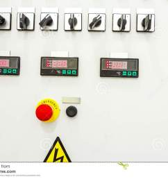 electrical control panel containing has a digital temperature gauge with warning sticker and an emergency shutdown panic button  [ 1300 x 957 Pixel ]