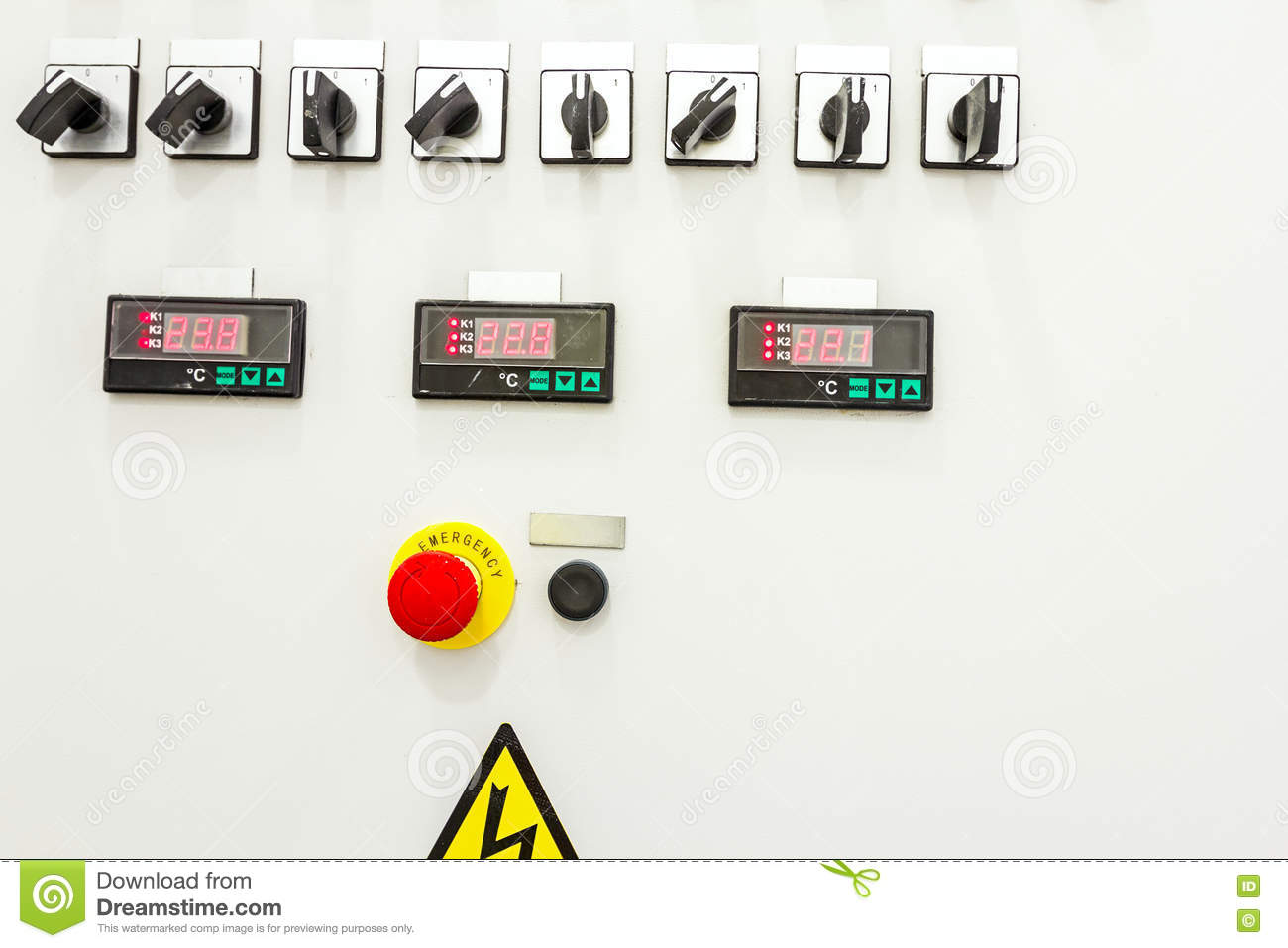 hight resolution of electrical control panel containing has a digital temperature gauge with warning sticker and an emergency shutdown panic button