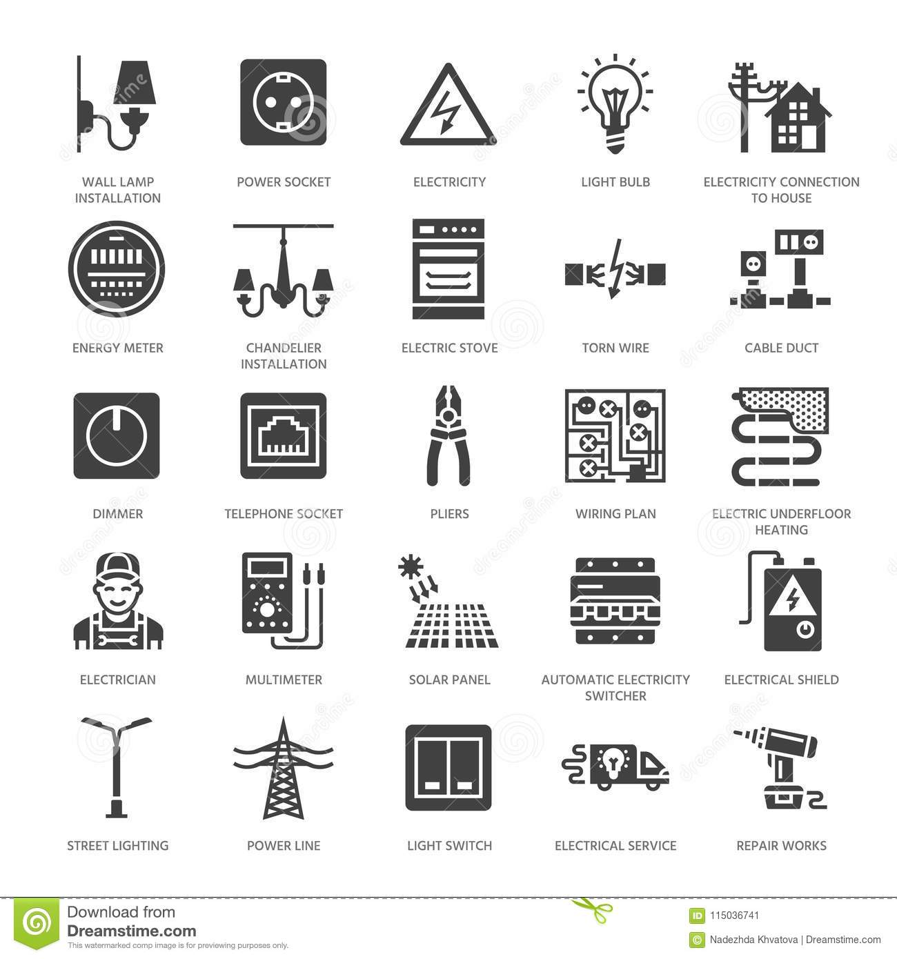 Electricity Engineering Vector Flat Glyph Icons
