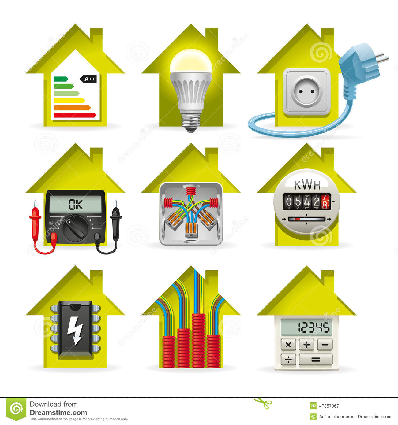 hight resolution of house wiring logo wiring diagram electricity home icons stock vector illustration of tester 47857967icons installation of